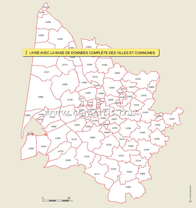 Carte des codes postaux de la Gironde