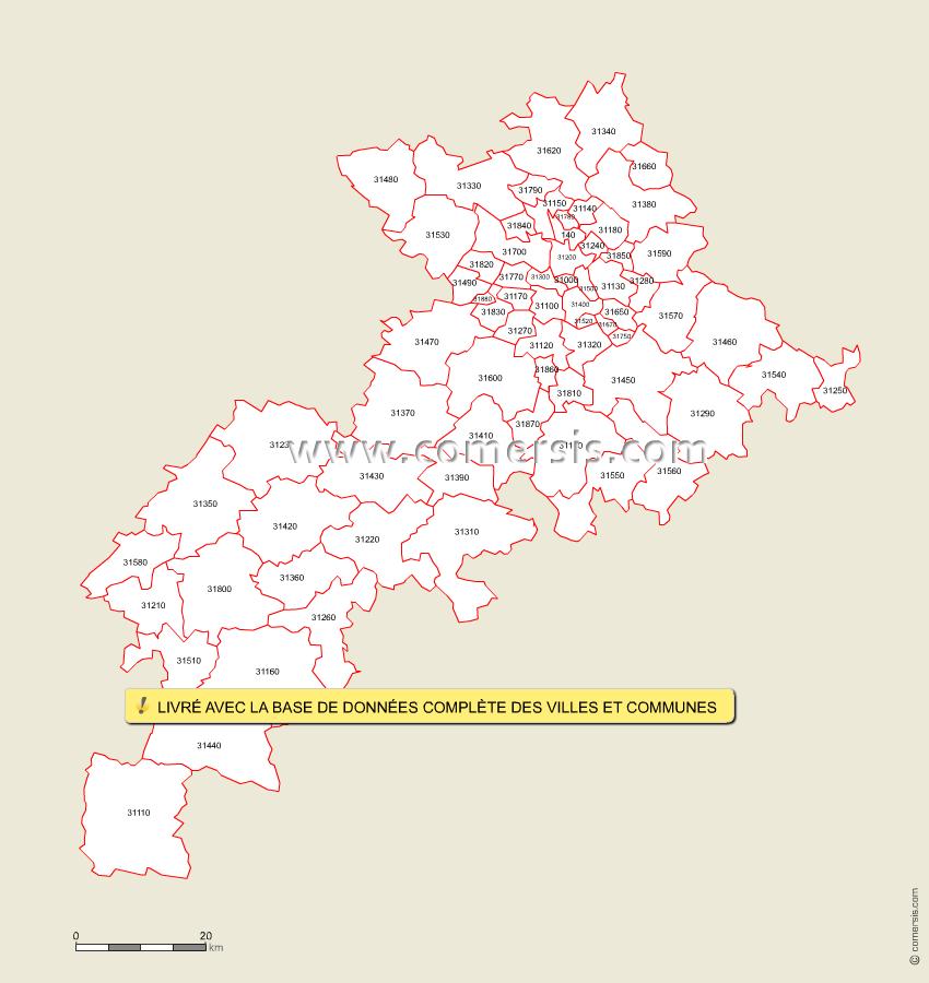 Fond de carte des codes postaux de la Haute-Garonne