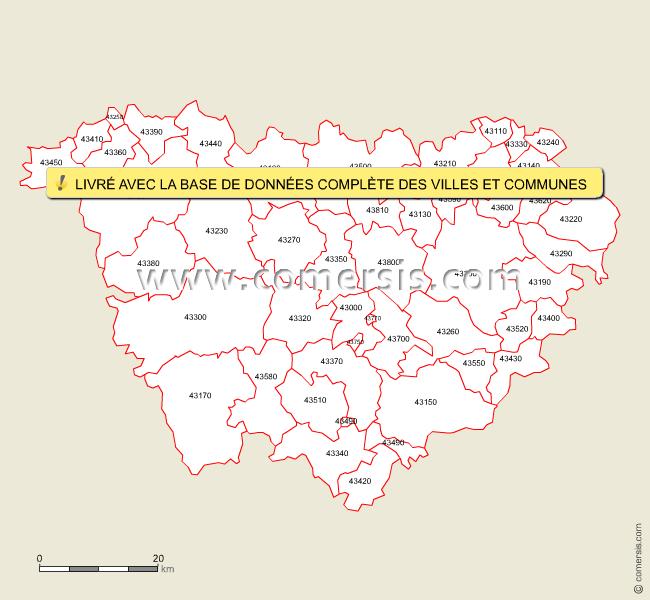 Carte des codes postaux de la haute loire for Code postal les vosges
