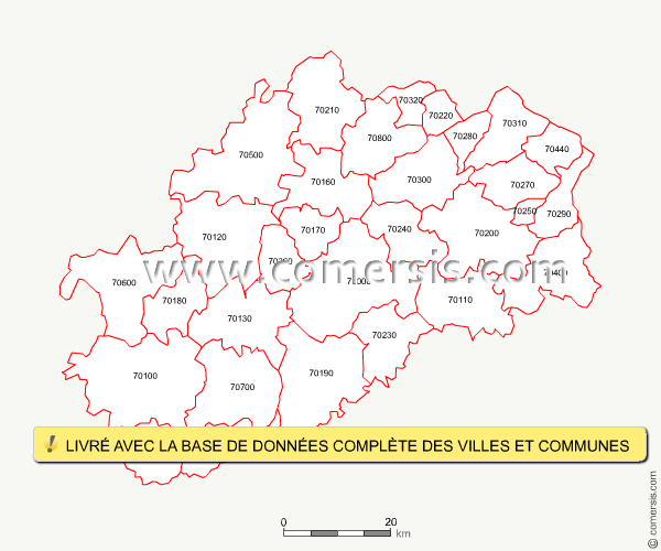 Carte des codes postaux de la haute sa ne for Code postal saone