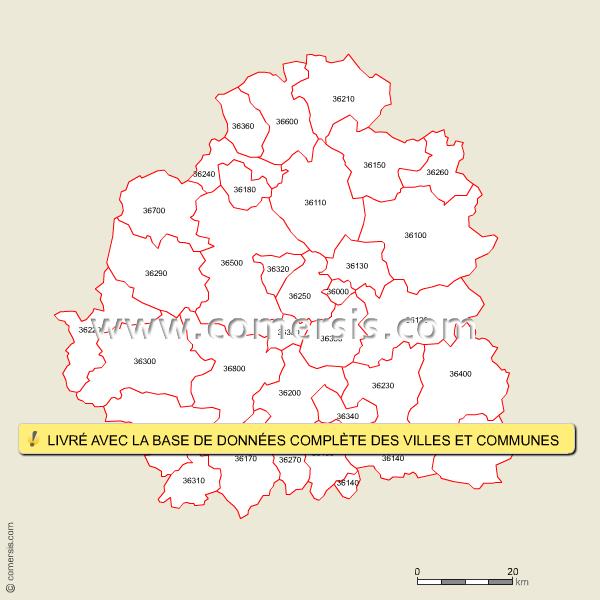 carte des codes postaux de l 39 indre