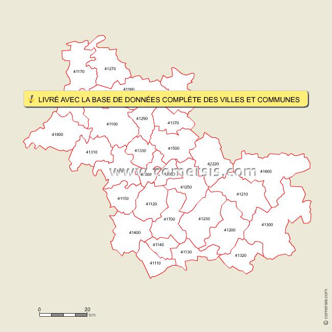 carte des codes postaux du loir et cher