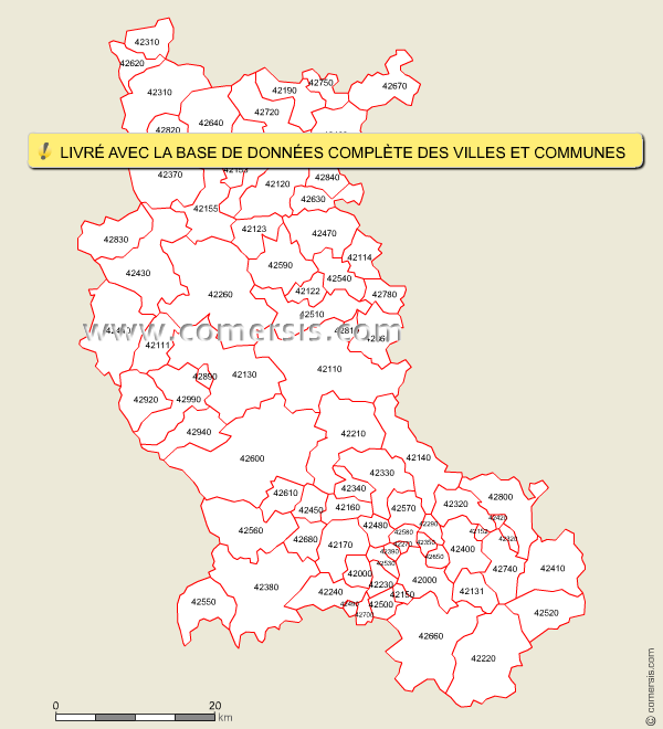 carte des codes postaux de la loire