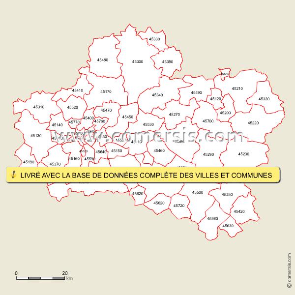Fond de carte des codes postaux du Loiret