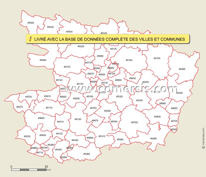 Fond de carte des codes postaux de Maine-et-Loire