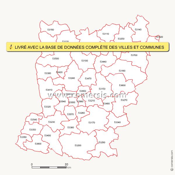 Carte des codes postaux de la mayenne for Code postal de nevers