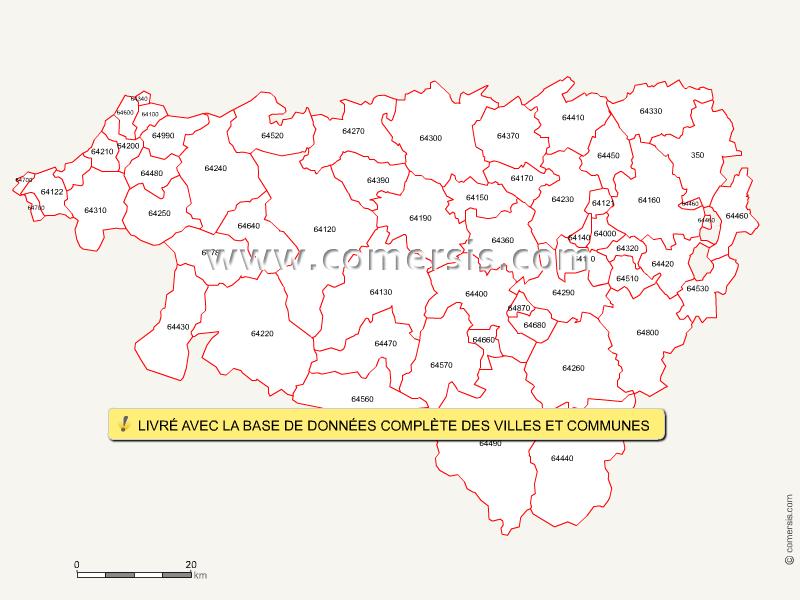 Fond de carte des codes postaux des Pyrénées-Atlantiques