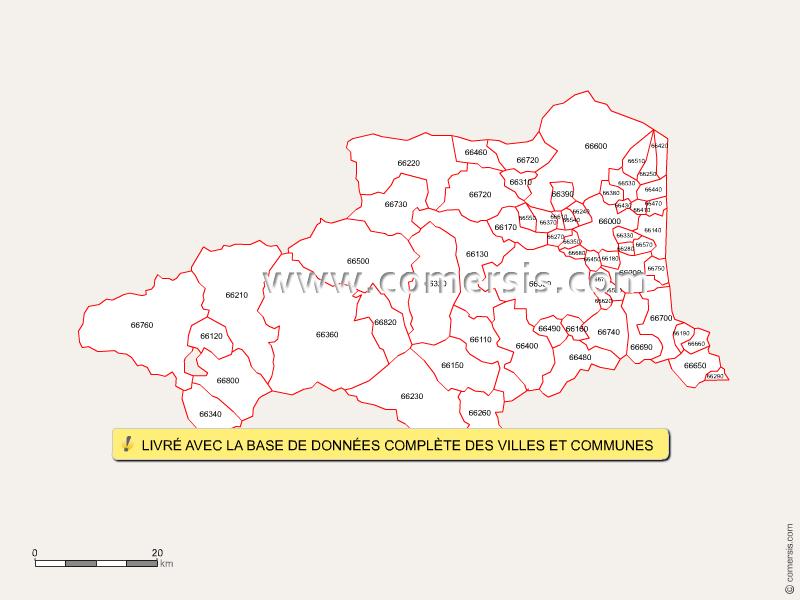 Fond de carte des codes postaux des Pyrénées-Orientales