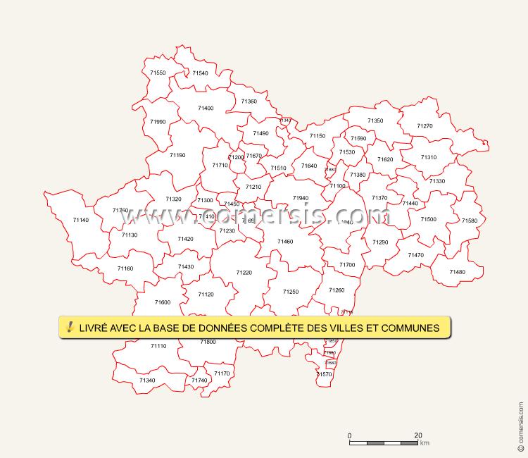 Fond de carte des codes postaux de Saône-et-Loire