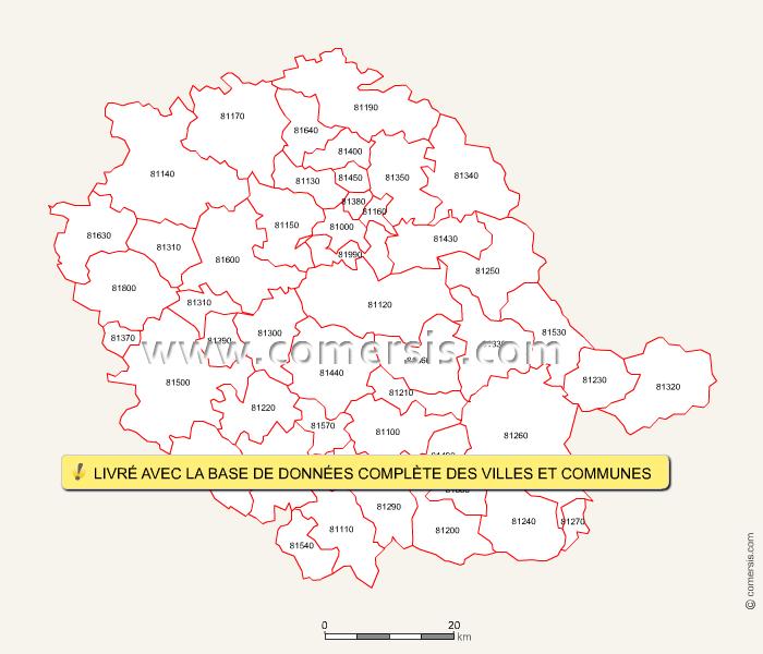 Fond de carte des codes postaux du Tarn