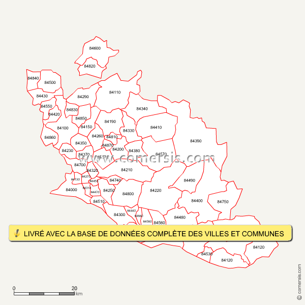 Carte des codes postaux du vaucluse for Code postal piolenc