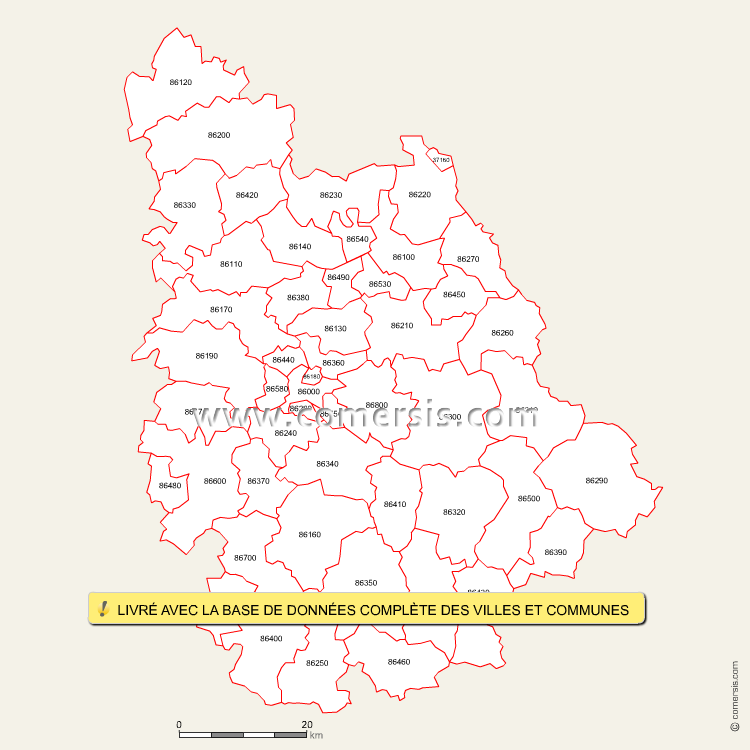 Carte des codes postaux de la vienne for Code postal boulay moselle