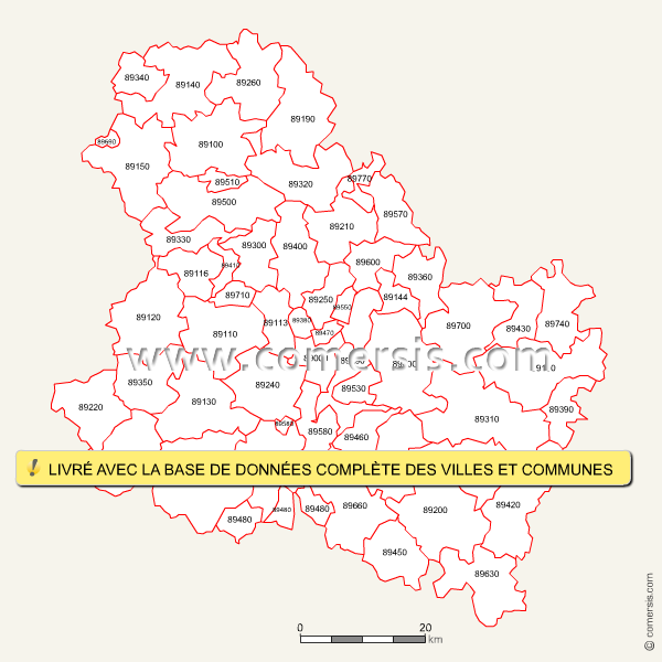 Fond de carte des codes postaux de l'Yonne