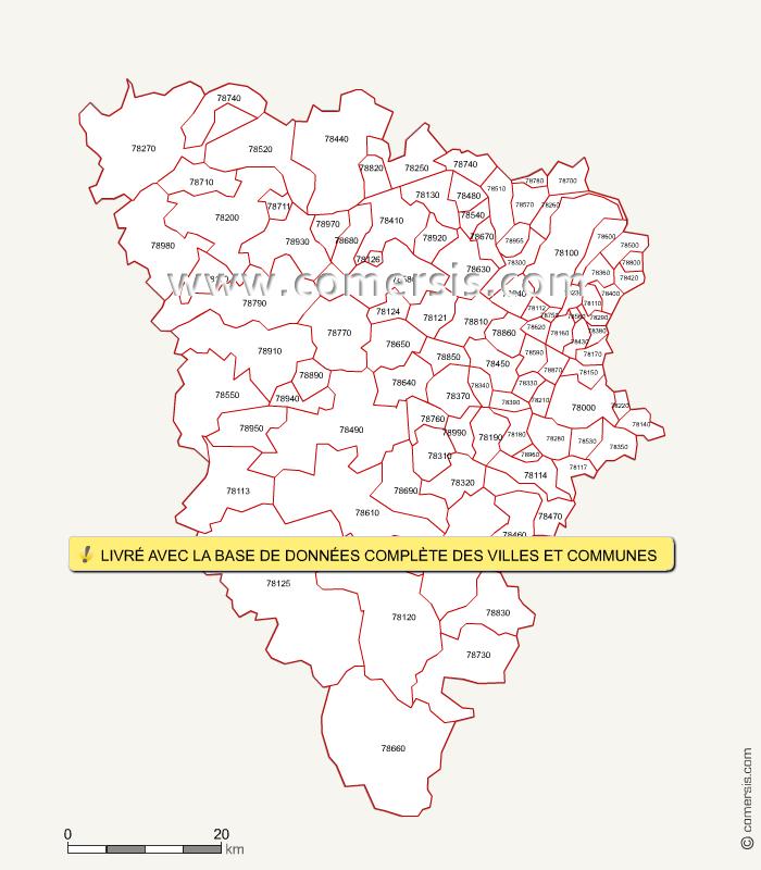 Carte des codes postaux des yvelines for Villes des yvelines