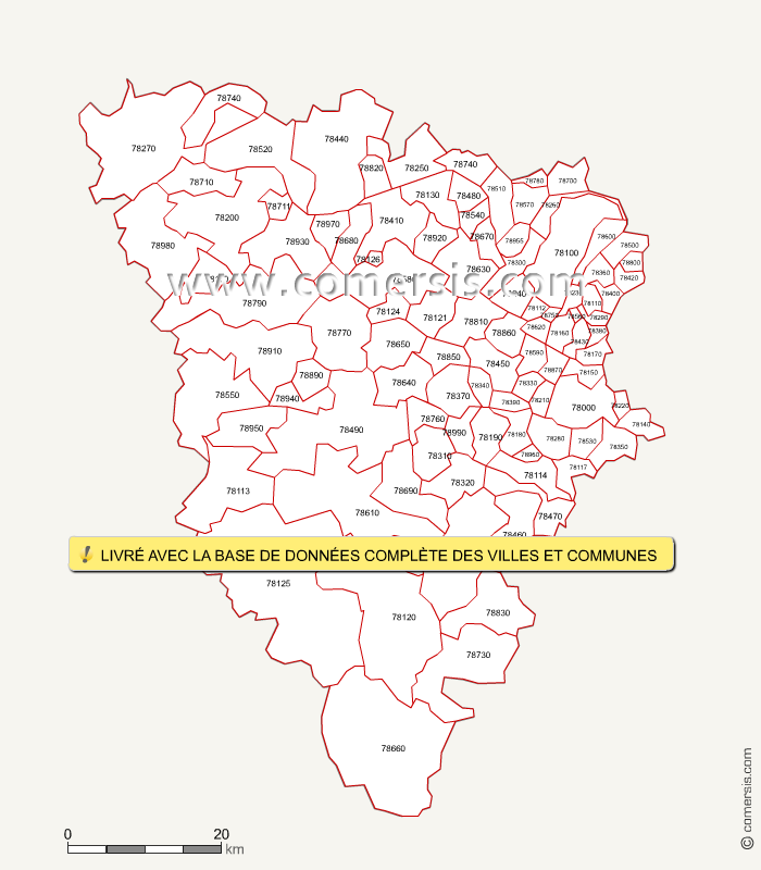 Carte des codes postaux des yvelines for Visite yvelines 78