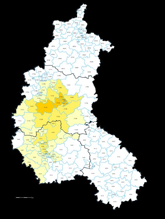 Carte des codes postaux de Champagne-Ardenne