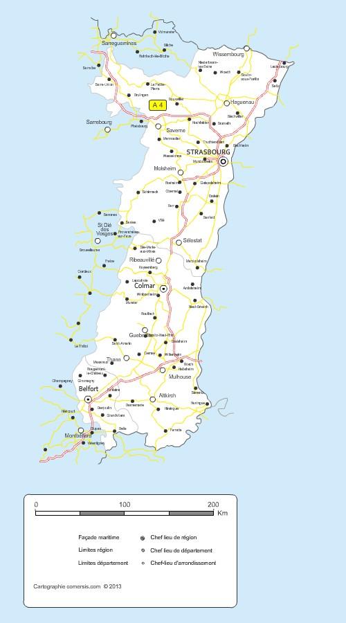 Carte des routes d'Alsace