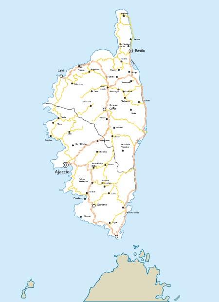 Carte Corse Fleuve.Carte Des Routes De Corse