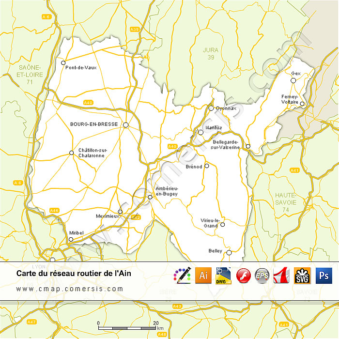 Carte des routes de l'Ain