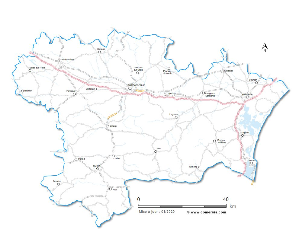 Carte des routes de l'Aude