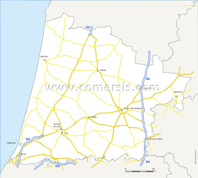 Carte des routes des Landes