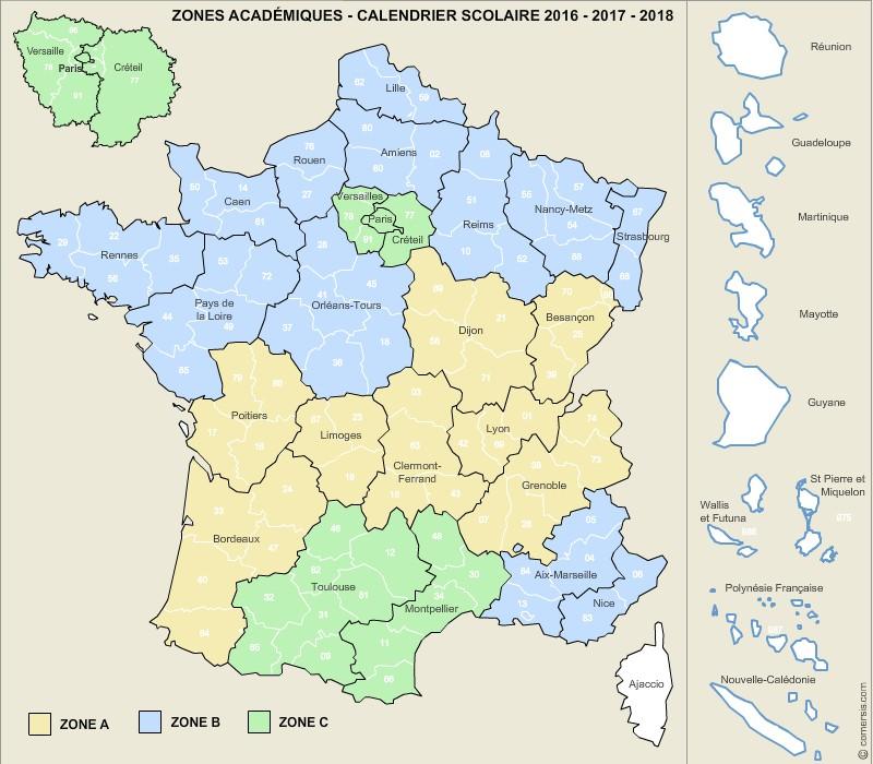 Carte des zones académiques de France