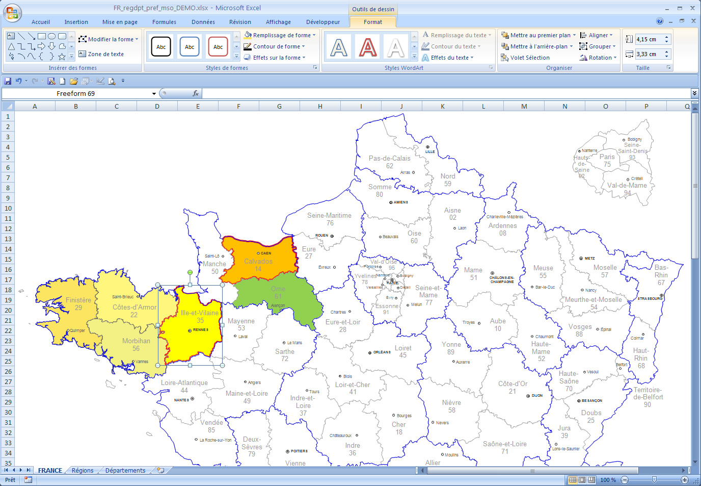 carte de france interactive excel