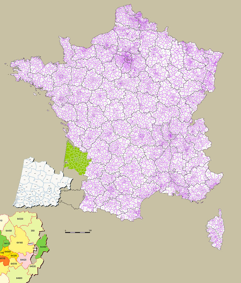 Cartographie des codes postaux France