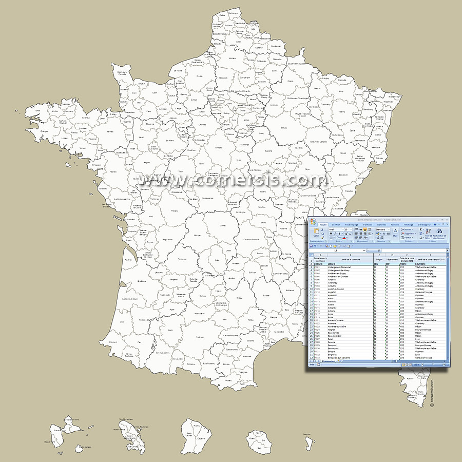 Zones d'emploi carte de France