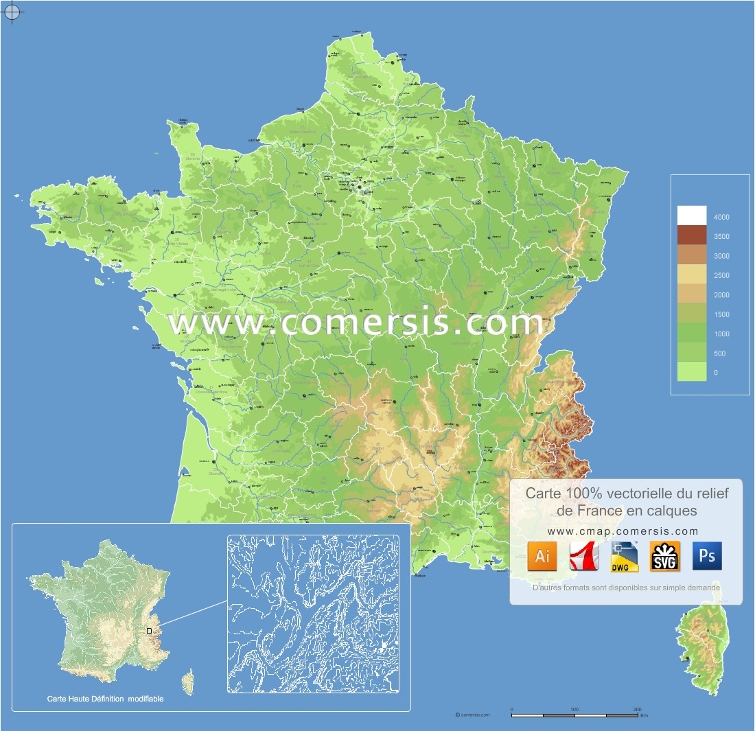 High-resolution map of France relief