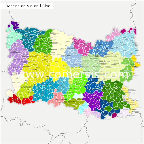 Carte des bassins de vie de l 39 oise for Liste communes oise