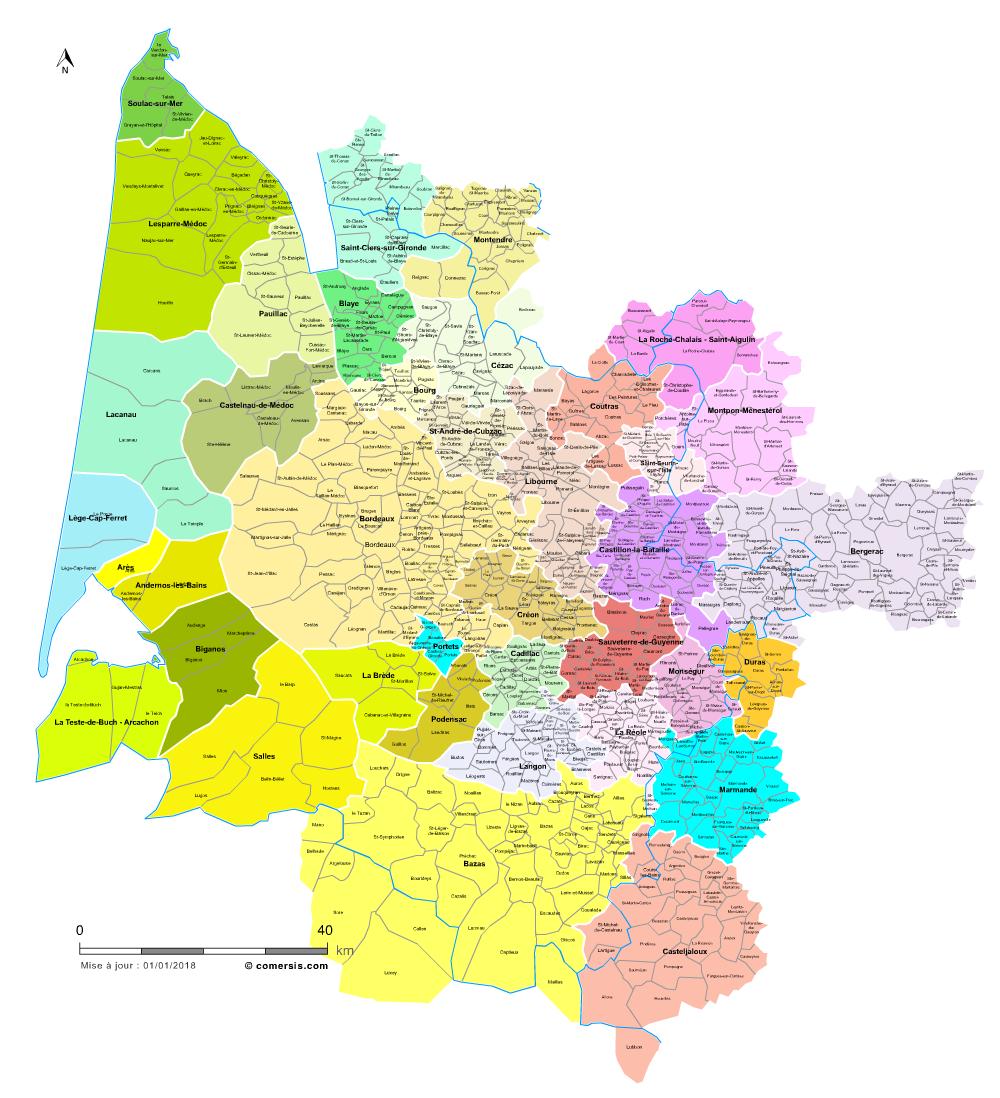 Carte des bassins de vie de la Gironde