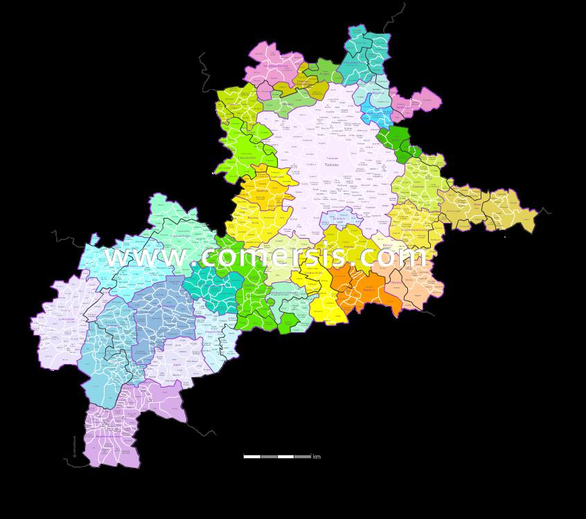 Carte des bassins de vie de la Haute-Garonne