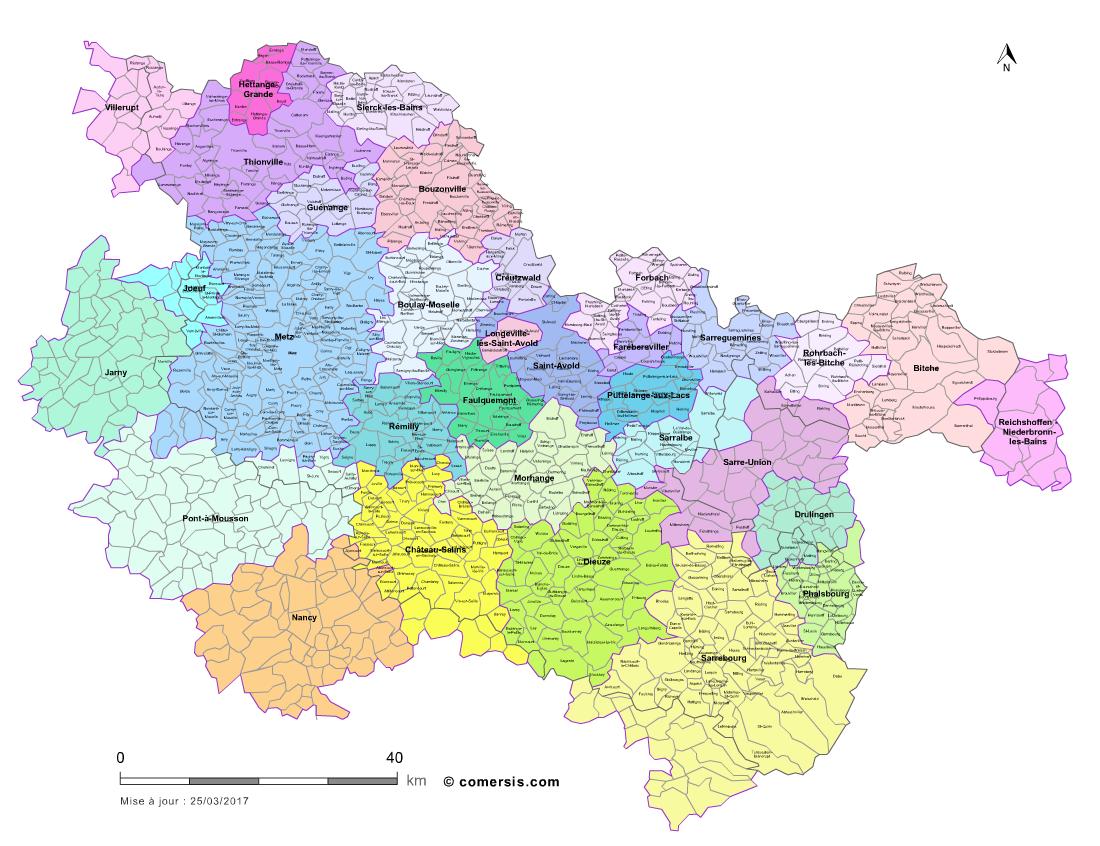 Carte des bassins de vie de la moselle for Code postal moselle