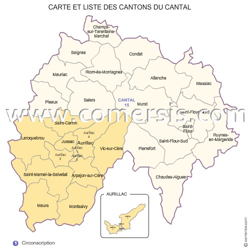 carte des cantons 2012 et circonscriptions du  Cantal