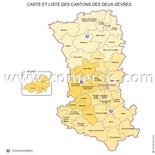 Carte des anciens cantons des deux s vres for Deux sevres code postal
