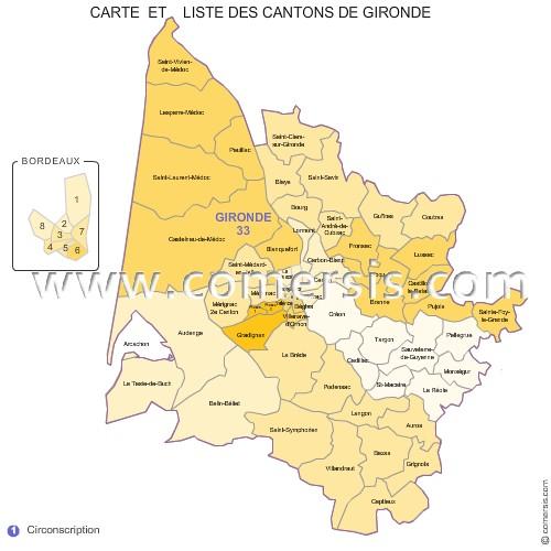 Carte des anciens cantons de la Gironde