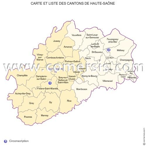 carte de la haute saone Carte des anciens cantons de la Haute Saône