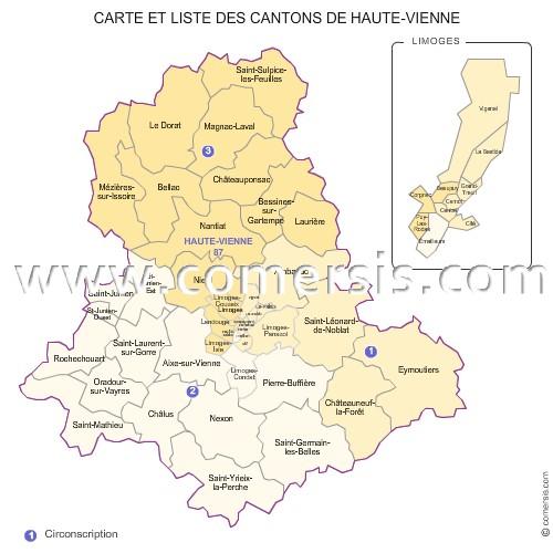 Les 3 circonscriptions de la haute vienne for Haute vienne carte