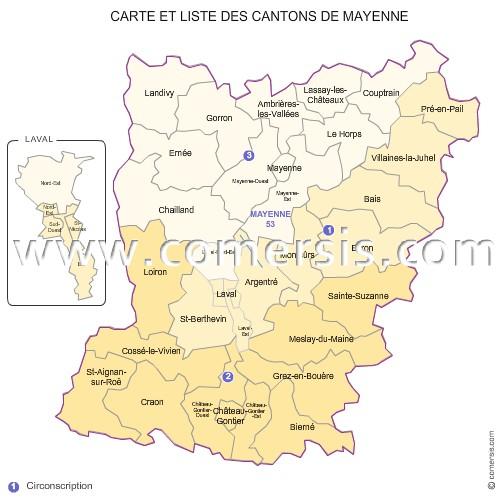 Carte des anciens cantons de la mayenne for La meziere code postal