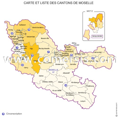 Carte des anciens cantons de la moselle for Code postal boulay moselle
