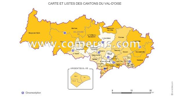 Carte des anciens cantons du val d 39 oise - Chambre des notaires val d oise ...