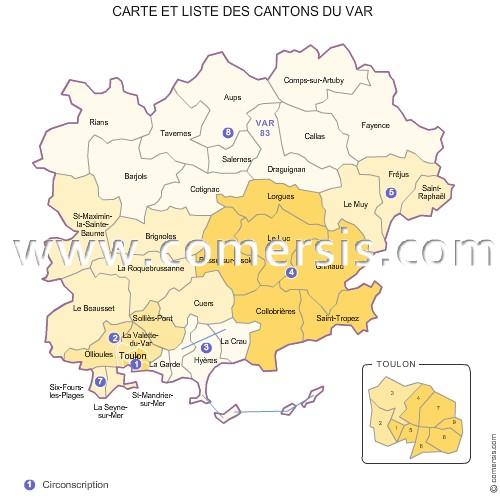 Carte des anciens cantons du Var