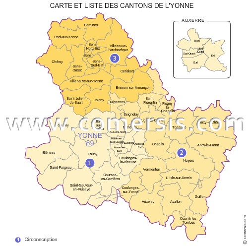 carte des anciens cantons de l 39 yonne. Black Bedroom Furniture Sets. Home Design Ideas