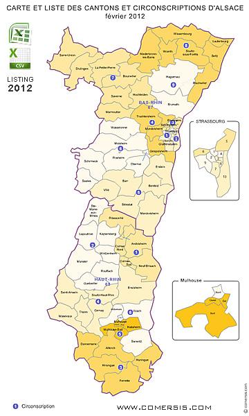 Carte Alsace Ensisheim.Carte Des Anciens Cantons D Alsace