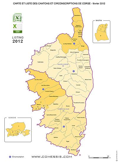 Carte Haute Corse Communes.Carte Des Anciens Cantons De Corse