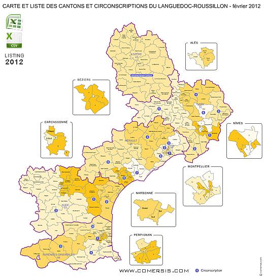 Carte Languedoc Roussillon.Carte Des Anciens Cantons Du Languedoc Roussillon