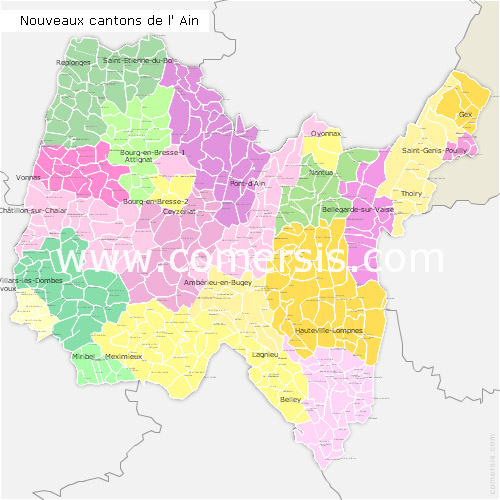 Ain counties map with names ( France ) for Word and Excel.