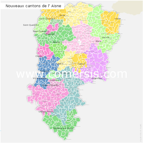 Aisne counties map with names ( France ) for Word and Excel.