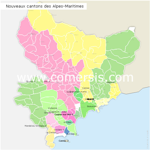 Alpes-Maritimes counties map with names ( France ) for Word and Excel.